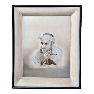 Vintage Japanese Embroidered Portrait in Nuetral For Sale