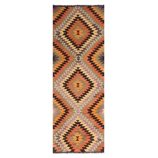"Vintage Mid-Century Diamond Tribal Multicolor Wool Kilim Runner-3'6'x9'10"" For Sale"