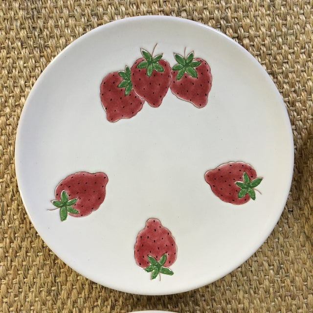 Cottage Italian Strawberry Motif Plates - Set of Four For Sale - Image 3 of 7