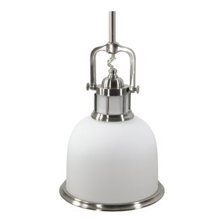 Industrial Modern Frosted Glass and Brushed Nickel Pendant For Sale
