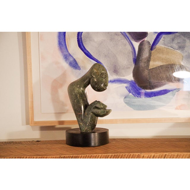 """Contemporary African """"Asking for Help"""" Stone Sculpture by Maikosi Kanyeredza For Sale - Image 9 of 12"""