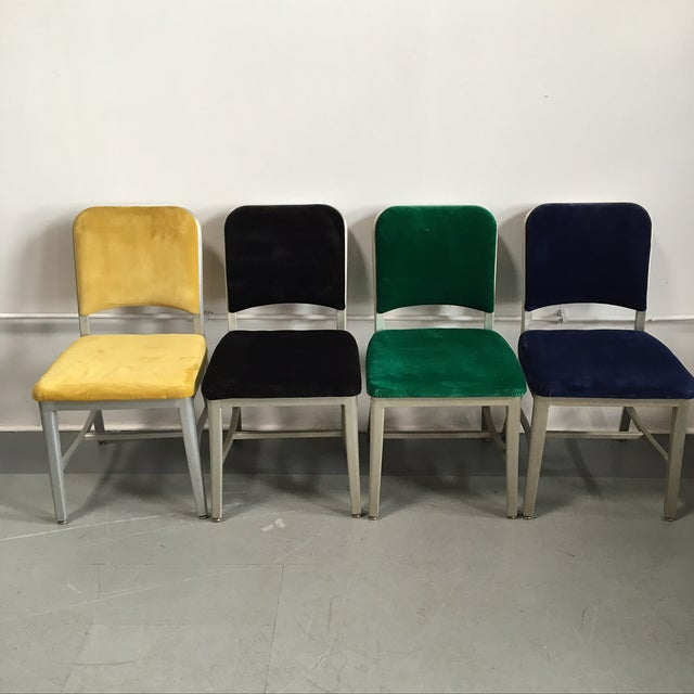 Emeco Vintage Velvet Dining Chairs - Set of 8 - Image 4 of 11