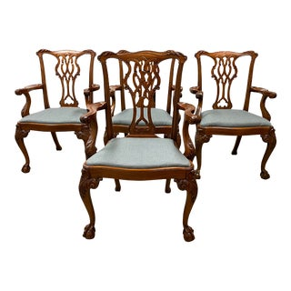 Early 20th Century Mary J Rafferty Young Antiques Chippendale Arm Chairs- Set of Four For Sale