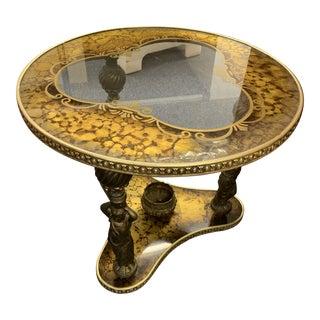 Mid-Century Gold & Bronze Cherub Accent Table For Sale