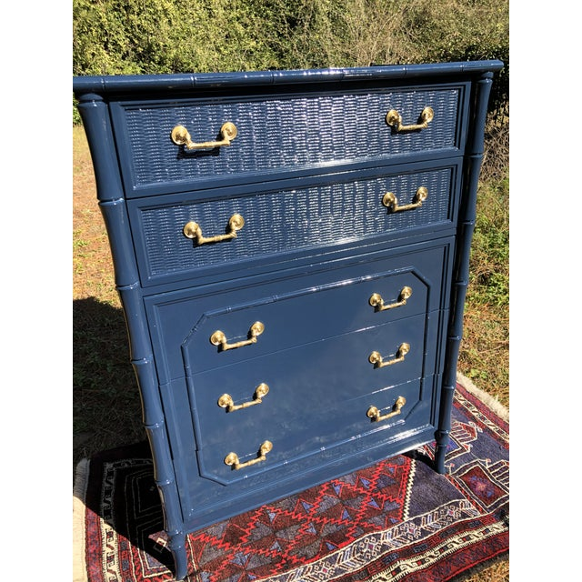 1970s Lacquered Faux Bamboo Broyhill Dresser For Sale In Charleston - Image 6 of 13