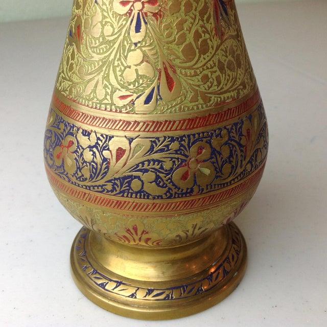 Vintage Etched Brass Vase | Chairish