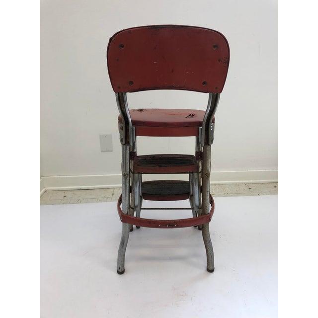 Marvelous Vintage Industrial Red Metal Folding Step Stool Ncnpc Chair Design For Home Ncnpcorg