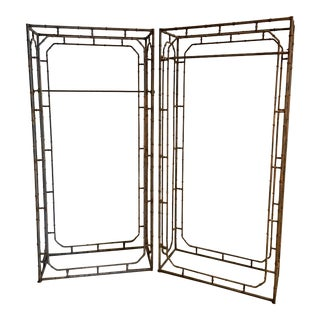 Weathered Iron 19th C Victorian Faux Bamboo Gazebo Armature Sections - A Pair For Sale
