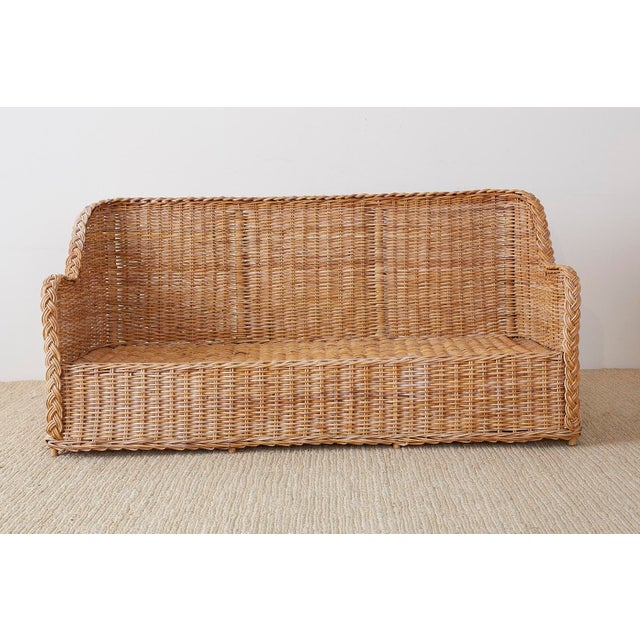 Pair of Organic Modern McGuire Style Rattan Wicker Sofas For Sale - Image 11 of 13