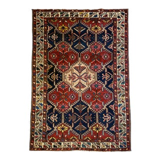 1950s Vintage Turkish Kilim Handknotted Wool Rug-4′4″ × 6′7″ For Sale