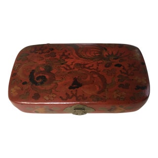 1900s Chinese Red Lacquer Box Hand Painted With Dragon and Phoenix For Sale