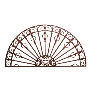 Vintage Mid Century Red Cast Iron Fan Shaped Transom For Sale