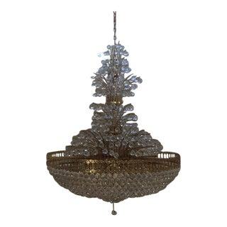 34 Lights Large Scale Brass + Crystal Chandelier For Sale