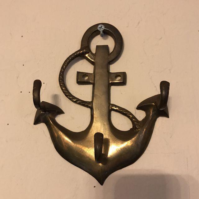 Vintage Brass Anchor Coat Hanger For Sale In San Francisco - Image 6 of 6