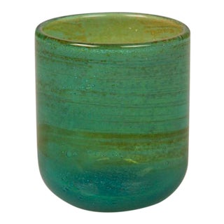 1970s Turquoise Mdina Malta Hand Blown Glass Tumbler For Sale