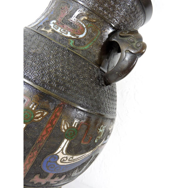 Antique Japanese Archaic Bronze & Multi Coloured Cloisonné Elephant Handled Table Lamp For Sale In Tampa - Image 6 of 9