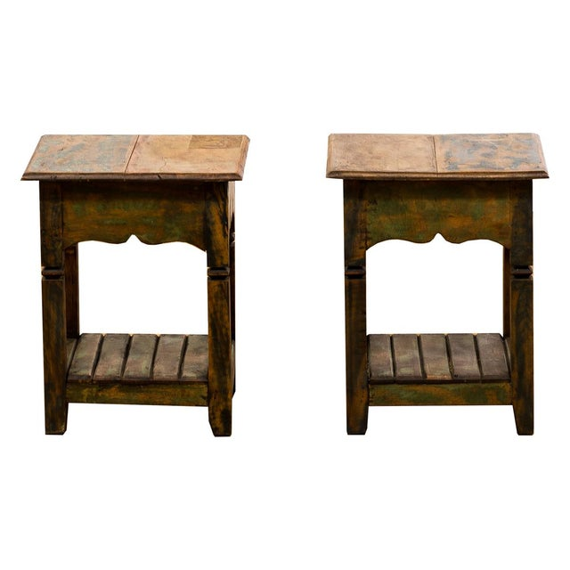 Reclaimed Wood Side Tables - a Pair For Sale In Los Angeles - Image 6 of 6