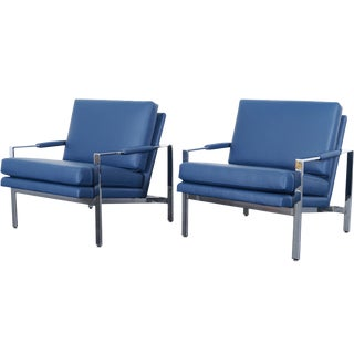 Vintage Leather Lounge Chairs by Milo Baughman For Sale