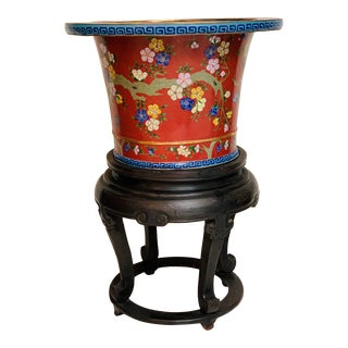 Antique 19th Century Chinese Brass/Enamel Cloisonne Planter Jardiniere For Sale