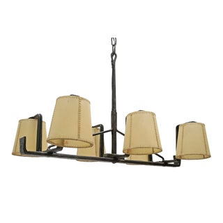 Rectangular Six-Arm Iron Chandelier With Parchment Shades, Spain, Circa 1970s For Sale