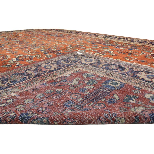 Antique Persian Mahal Palace Size Rug With Jacobean Style, 11'01 X 17'07 For Sale - Image 4 of 5