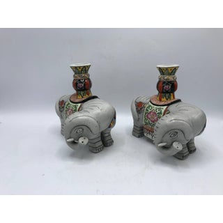 1960s Polychrome Ceramic Elephant Sculpture Candlestick Holders, Pair Preview
