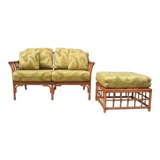 Ficks Reed Style Settee & Ottoman For Sale