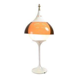 Metal, Orange Plexiglass, Opaline Glass Table Lamp, Italy, 1970s For Sale