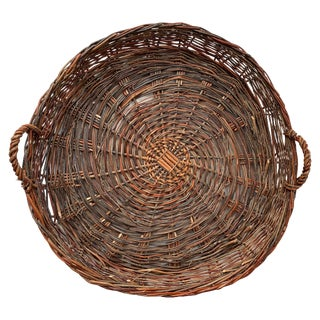 Vintage European Flat Basket For Sale