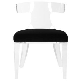 Modern Lucite and Velvet Side Chair For Sale