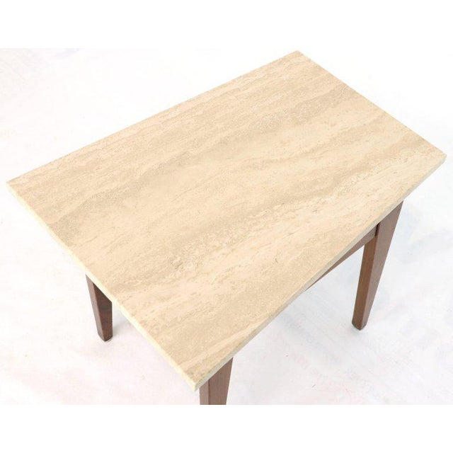 Risom Walnut End Tables W/ Wedge Shape Travertine Marble Tops - A Pair For Sale - Image 12 of 13