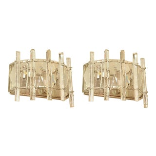 Mid-century French Modern Cut Crystal and Chrome Sconces - a pair For Sale