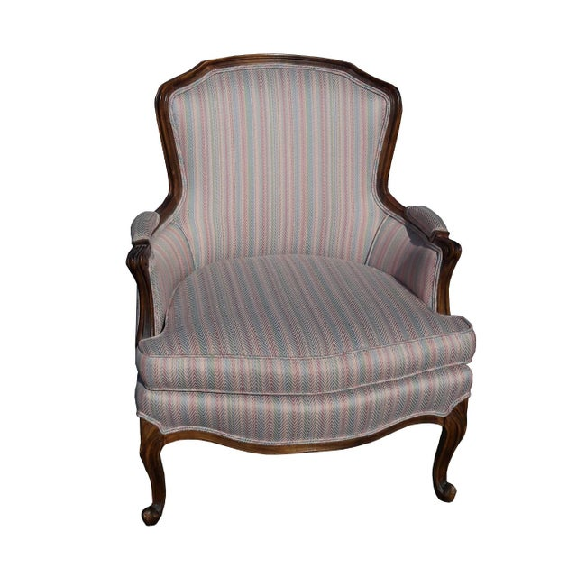 Purple 1950s French Provincial Walnut Bergere Chair For Sale - Image 8 of 8