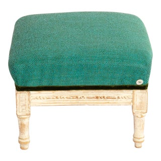 19th Century Antique French Emerald and White Patina Footstool For Sale