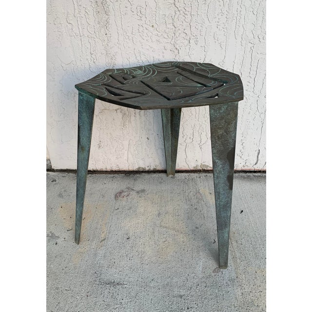 Metal Artist Made Vintage Modernist Bronze Side Table For Sale - Image 7 of 7