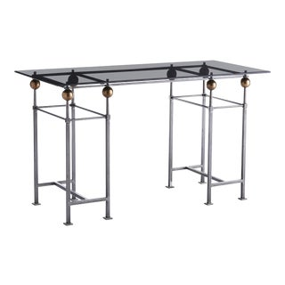 Julian Iron & Black Glass Desk For Sale