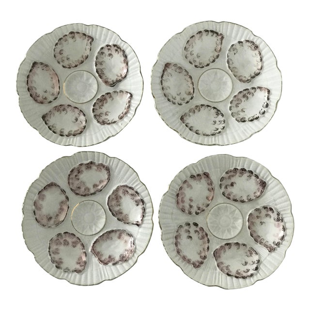 Vintage Gray and White Oyster Plates - Set of 4 For Sale