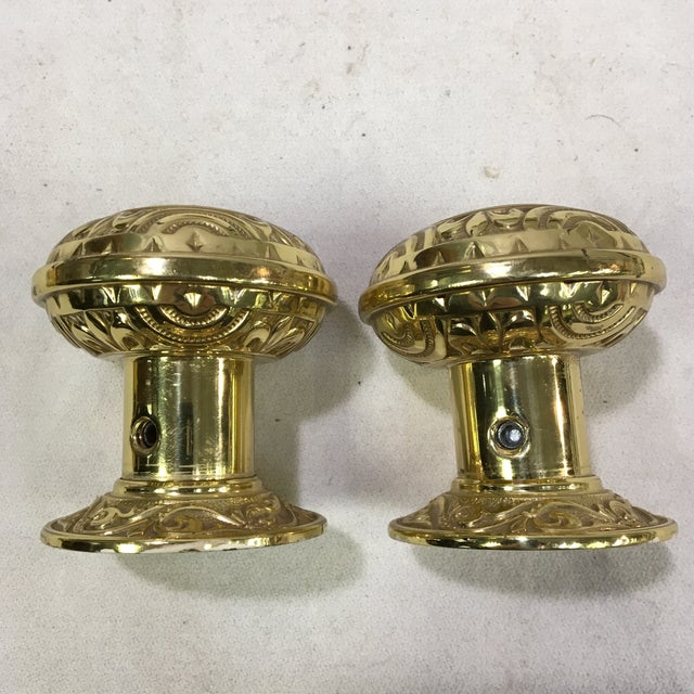 Antique Style Eastlake Heavy Brass Doorknobs - a Pair For Sale - Image 4 of 7