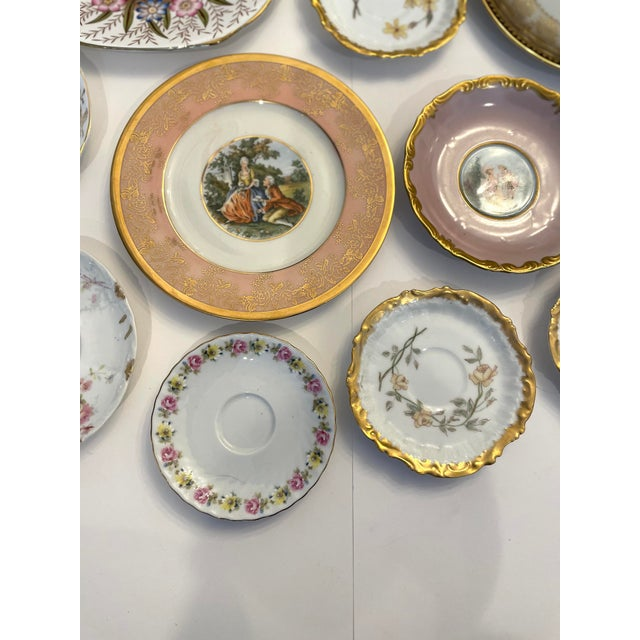 Early 20th Century Vintage Pink and Gold Mixed Decorative Plates- a Set 12 For Sale - Image 5 of 13