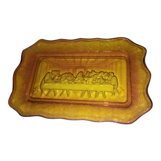 1950s Amberina Last Supper Plate For Sale