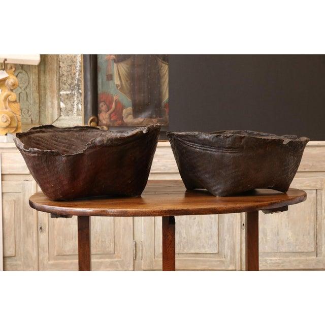 Antique Primitive Hide Basket For Sale - Image 10 of 11