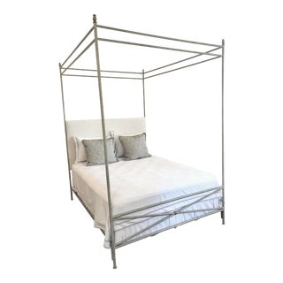 Orleans Upholstered Canopy Queen Size Bed For Sale