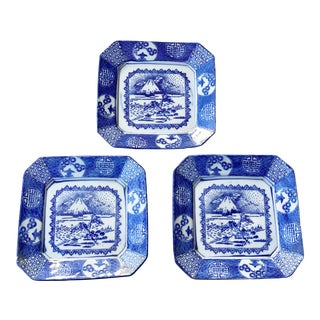 19th Century Antique Japanese Blue & White Imari Plates - Set of Three For Sale