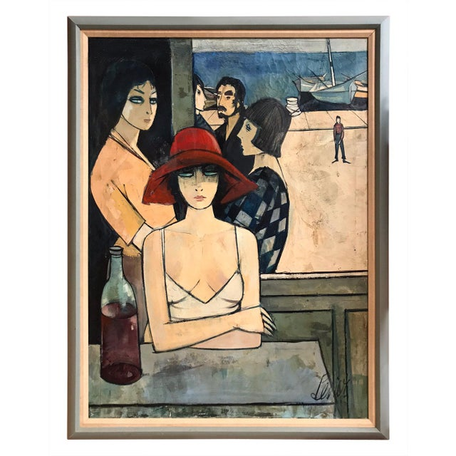 Blue Mid-Century Figurative French Painting For Sale - Image 8 of 8