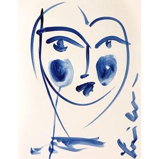 Indigo Face Acrylic Painting