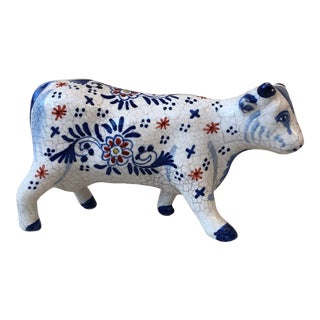 French Faience Cow Desvres, Circa 1910 For Sale