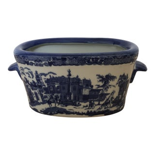 Vintage Blue and White Ironstone Small Foot Bath Planter For Sale