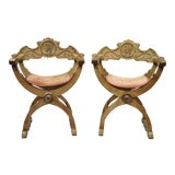 Image of Antique Italian Renaissance Curule Savonarola Throne Armchairs - a Pair For Sale