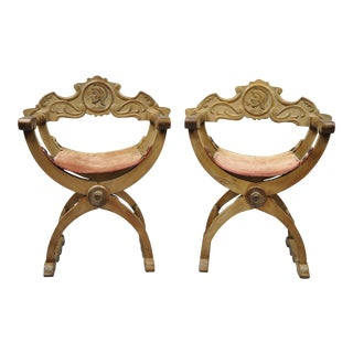 Antique Italian Renaissance Curule Savonarola Throne Armchairs - a Pair For Sale