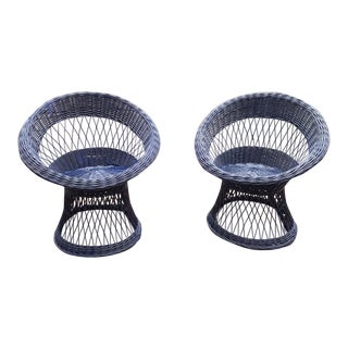 Midcentury Hoop or Barrel Wicker Chairs in Navy - a Pair For Sale